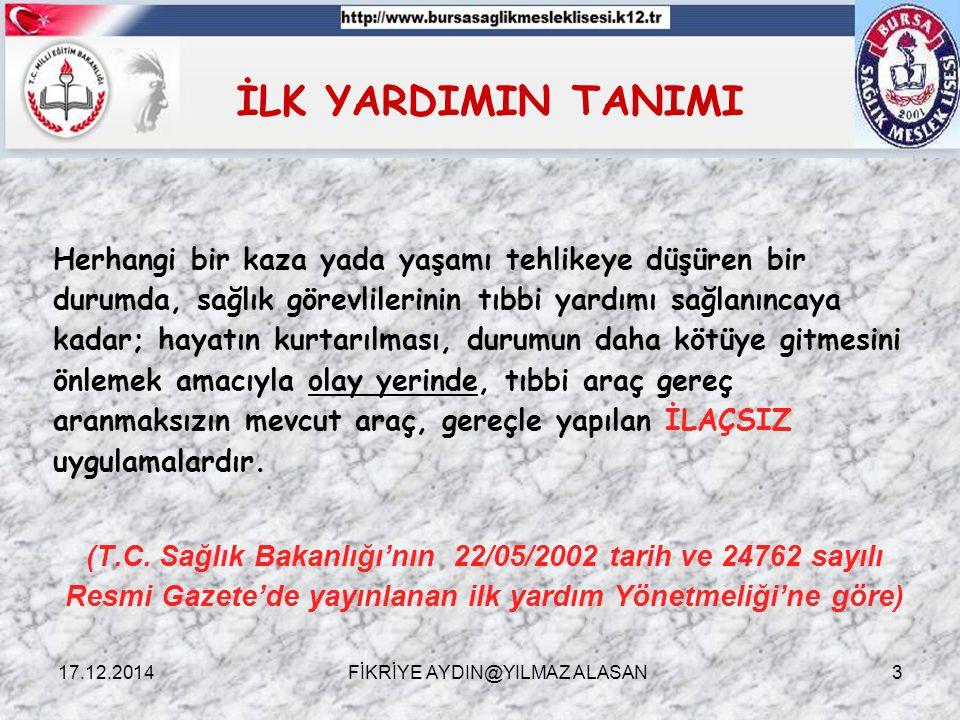 DOLAŞIM SİSTEMİ  Kanın Vücuttaki görevleri ; * Oksijen ve besin öğelerinin taşınması (taşıma) * Vücut sıcaklığını koruma (ısı ayarlama) * Vücudu enfeksiyonlara karşı koruma (savunma) * Kanamanın durdurulması (pıhtılaşma) 17.12.2014FİKRİYE AYDIN@YILMAZ ALASAN24