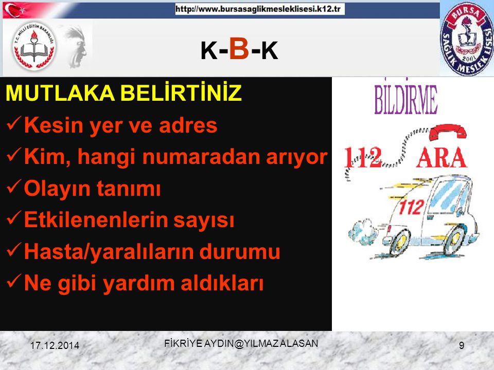 K - B – K Kurtarma gereksinimi olanları KURTARMA 17.12.2014FİKRİYE AYDIN@YILMAZ ALASAN10