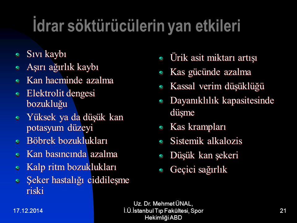 17.12.2014 Uz. Dr. Mehmet ÜNAL, İ.Ü.İstanbul Tıp Fakültesi, Spor Hekimliği ABD 21 İdrar söktürücülerin yan etkileri Sıvı kaybı Aşırı ağırlık kaybı Kan