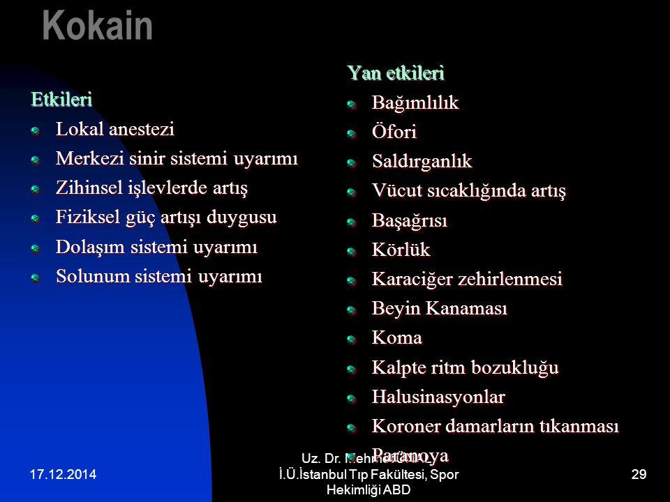 17.12.2014 Uz. Dr. Mehmet ÜNAL, İ.Ü.İstanbul Tıp Fakültesi, Spor Hekimliği ABD 29 KokainEtkileri Lokal anestezi Merkezi sinir sistemi uyarımı Zihinsel