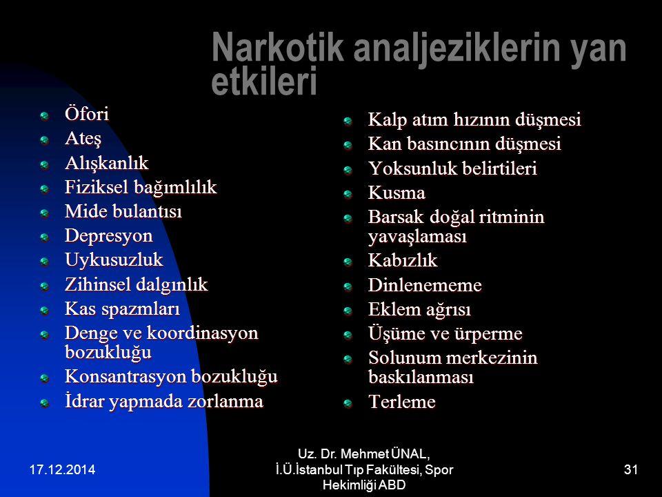 17.12.2014 Uz. Dr. Mehmet ÜNAL, İ.Ü.İstanbul Tıp Fakültesi, Spor Hekimliği ABD 31 Narkotik analjeziklerin yan etkileri ÖforiAteşAlışkanlık Fiziksel ba