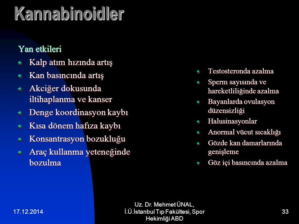 17.12.2014 Uz. Dr. Mehmet ÜNAL, İ.Ü.İstanbul Tıp Fakültesi, Spor Hekimliği ABD 33 Kannabinoidler Yan etkileri Kalp atım hızında artış Kan basıncında a