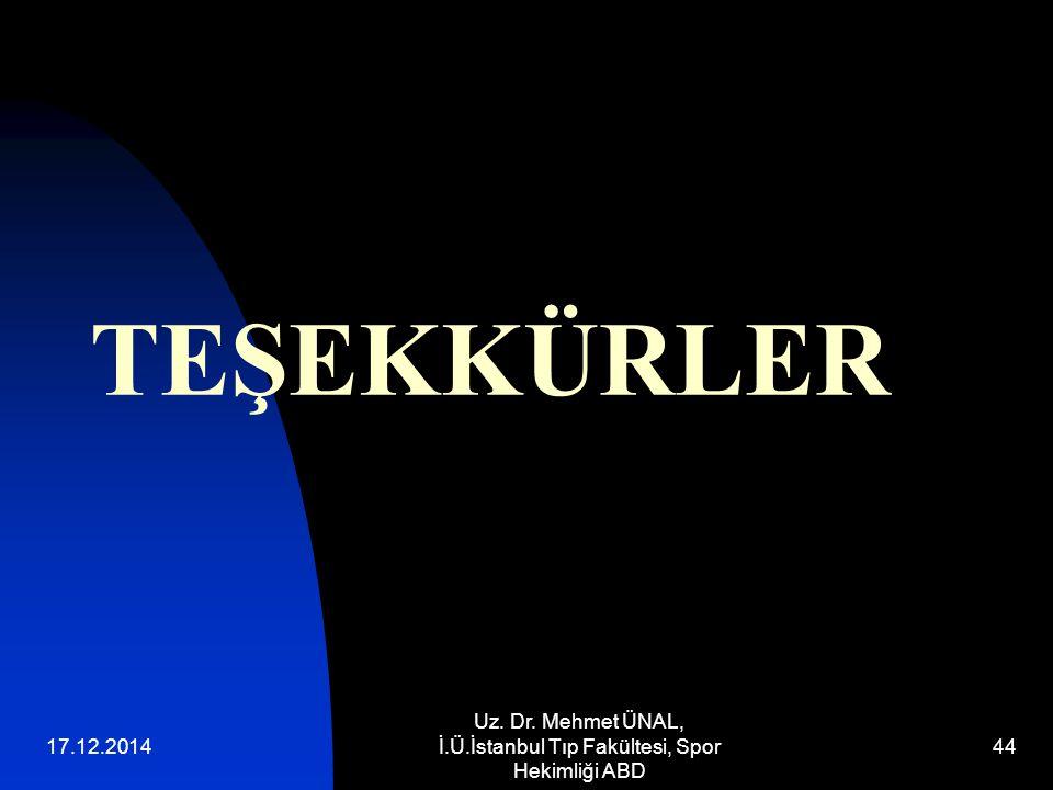 17.12.2014 Uz. Dr. Mehmet ÜNAL, İ.Ü.İstanbul Tıp Fakültesi, Spor Hekimliği ABD 44 TEŞEKKÜRLER