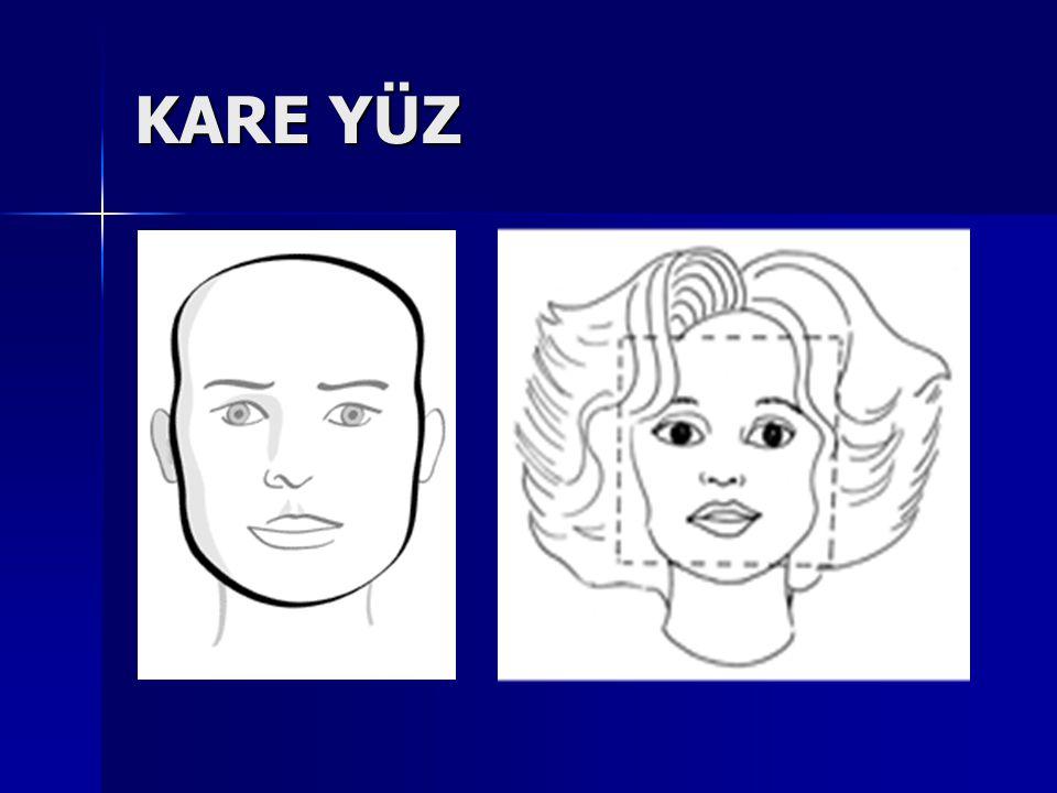 DİKDÖRTGEN YÜZ ( Uzun Yüz ) Bu yüzlerde saç, yüzün uzunluğunu kapatmak amacıyla yandan ayrılmalı, alna düşen saçlarla yüzün uzunluğu dengelenmelidir.