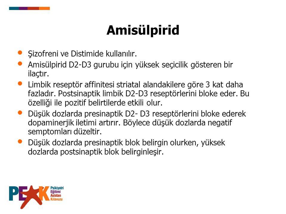 Amisülpirid Şizofreni ve Distimide kullanılır. Amisülpirid D2-D3 gurubu için yüksek seçicilik gösteren bir ilaçtır. Limbik reseptör affinitesi striata