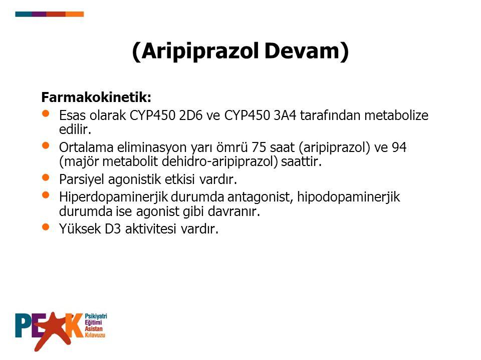 (Aripiprazol Devam) Farmakokinetik: Esas olarak CYP450 2D6 ve CYP450 3A4 tarafından metabolize edilir. Ortalama eliminasyon yarı ömrü 75 saat (aripipr