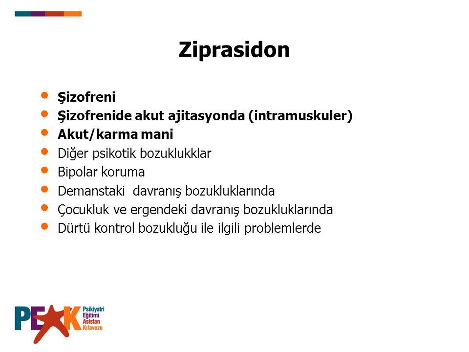 Ziprasidon Şizofreni Şizofrenide akut ajitasyonda (intramuskuler) Akut/karma mani Diğer psikotik bozuklukklar Bipolar koruma Demanstaki davranış bozuk