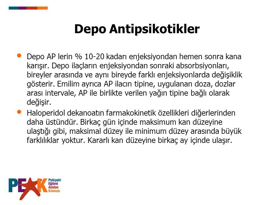 Depo Antipsikotikler Depo AP lerin % 10-20 kadarı enjeksiyondan hemen sonra kana karışır. Depo ilaçların enjeksiyondan sonraki absorbsiyonları, bireyl