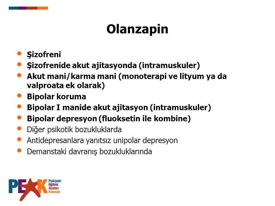 Olanzapin Şizofreni Şizofrenide akut ajitasyonda (intramuskuler) Akut mani/karma mani (monoterapi ve lityum ya da valproata ek olarak) Bipolar koruma