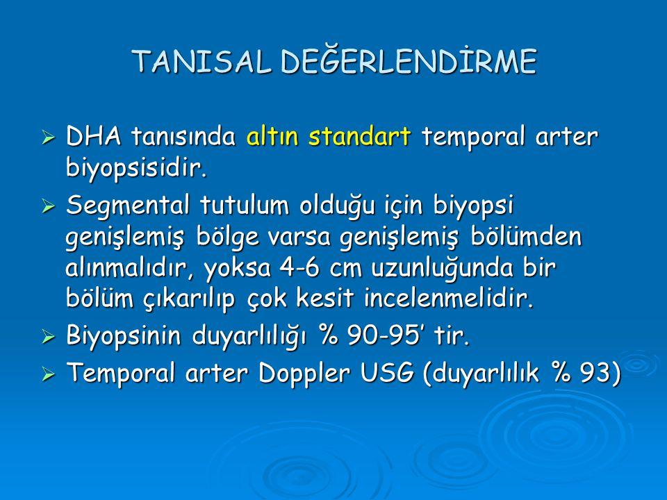 TANISAL DEĞERLENDİRME  DHA tanısında altın standart temporal arter biyopsisidir.  Segmental tutulum olduğu için biyopsi genişlemiş bölge varsa geniş