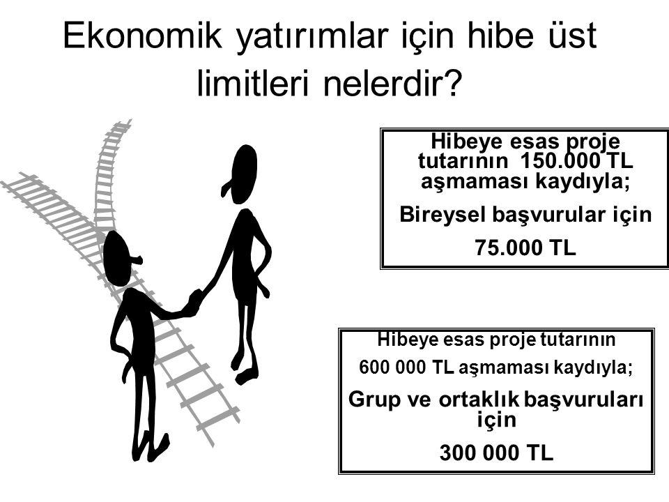 Hibeye esas proje tutarının 150.000 TL aşmaması kaydıyla; Bireysel başvurular için 75.000 TL Ekonomik yatırımlar için hibe üst limitleri nelerdir? Hib