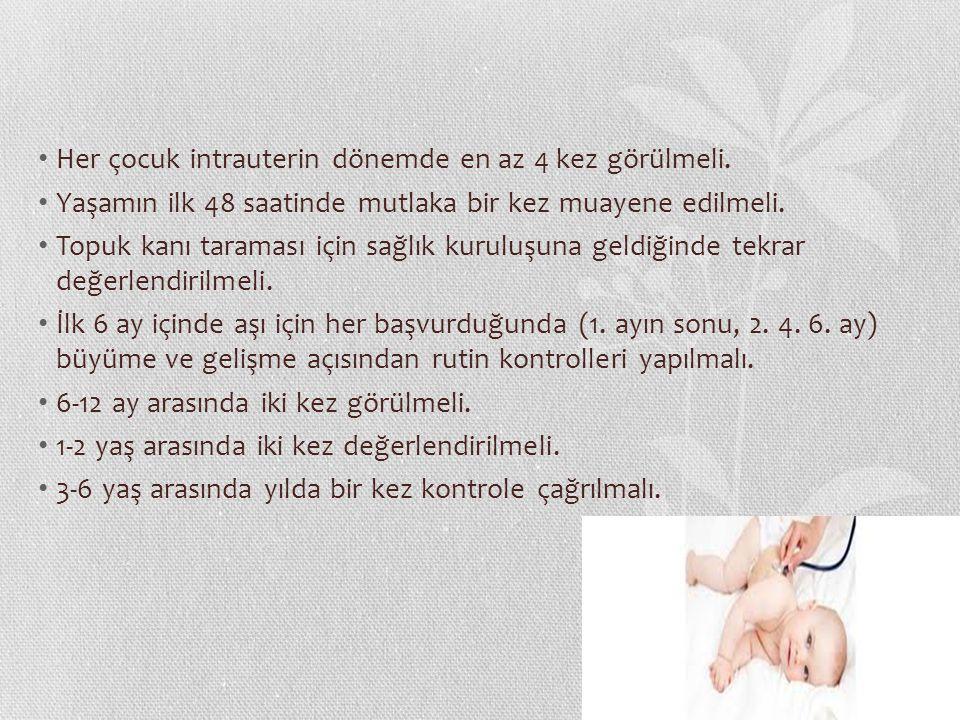 Her çocuk intrauterin dönemde en az 4 kez görülmeli.