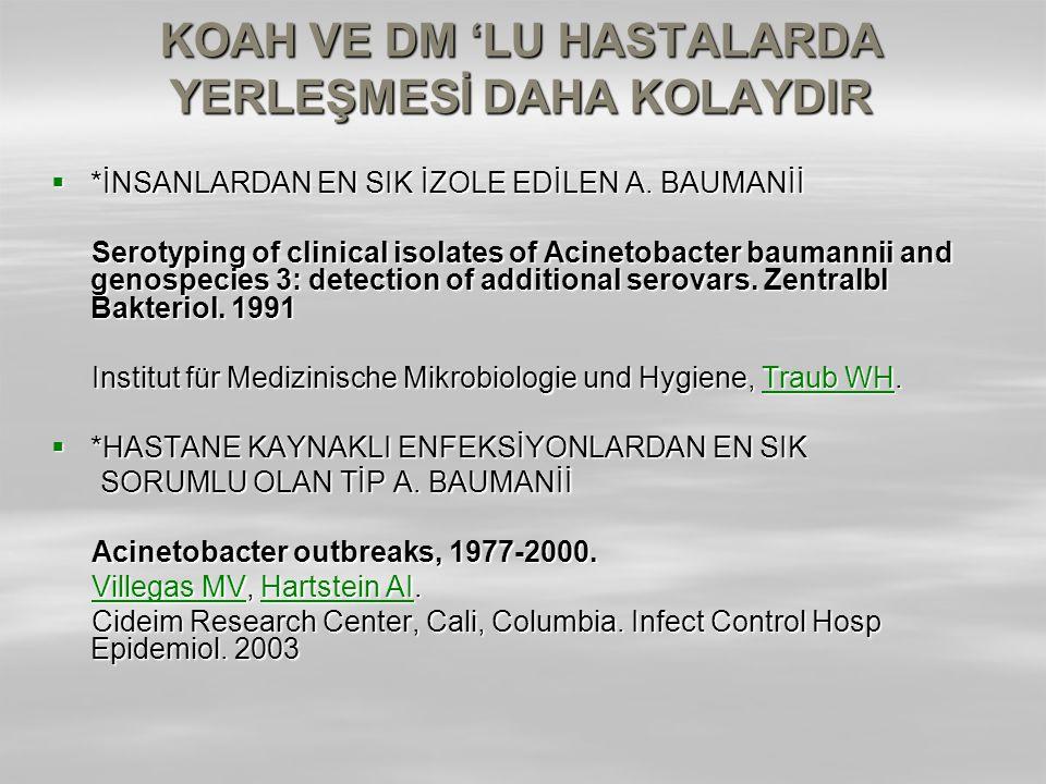 KOAH VE DM 'LU HASTALARDA YERLEŞMESİ DAHA KOLAYDIR  *İNSANLARDAN EN SIK İZOLE EDİLEN A. BAUMANİİ Serotyping of clinical isolates of Acinetobacter bau
