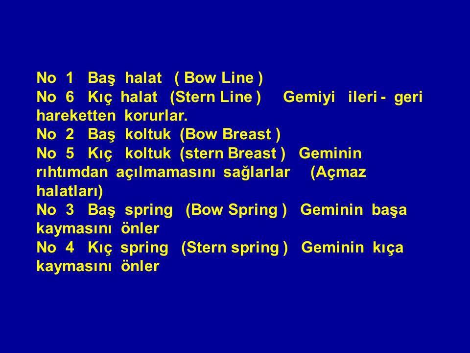 No 1 Baş halat ( Bow Line ) No 6 Kıç halat (Stern Line ) Gemiyi ileri - geri hareketten korurlar.