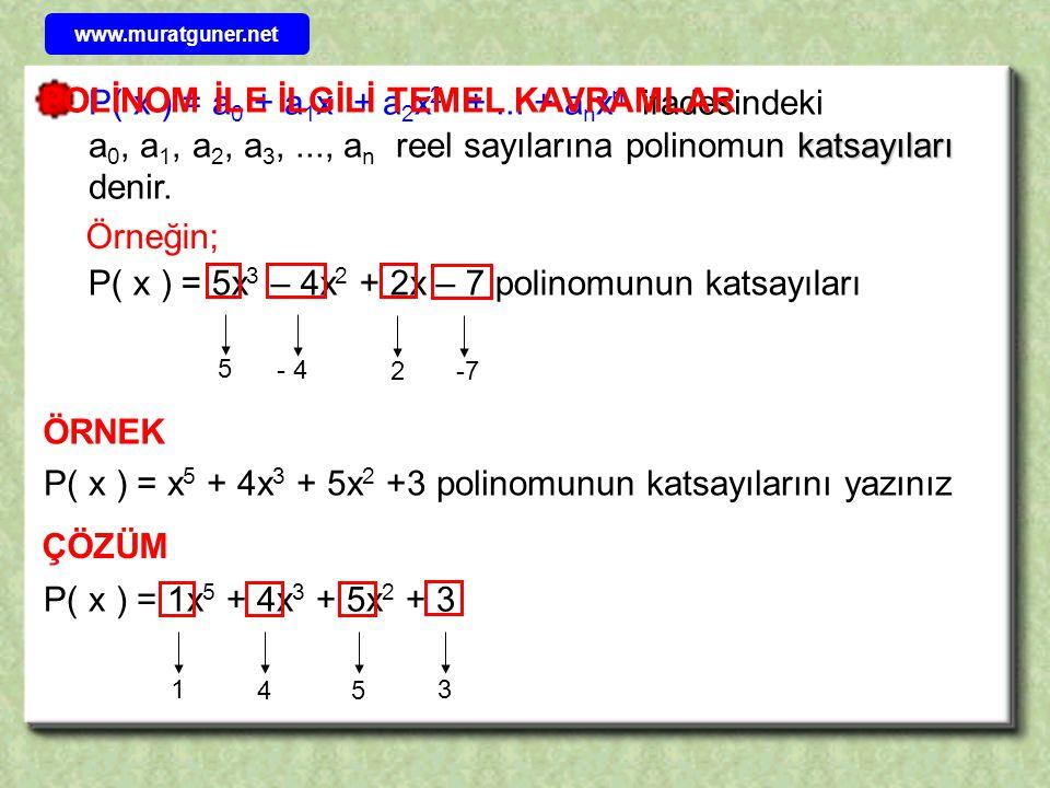 katsayıları P( x ) = a 0 + a 1 x + a 2 x 2 +... + a n x n ifadesindeki a 0, a 1, a 2, a 3,..., a n reel sayılarına polinomun katsayıları denir. P( x )