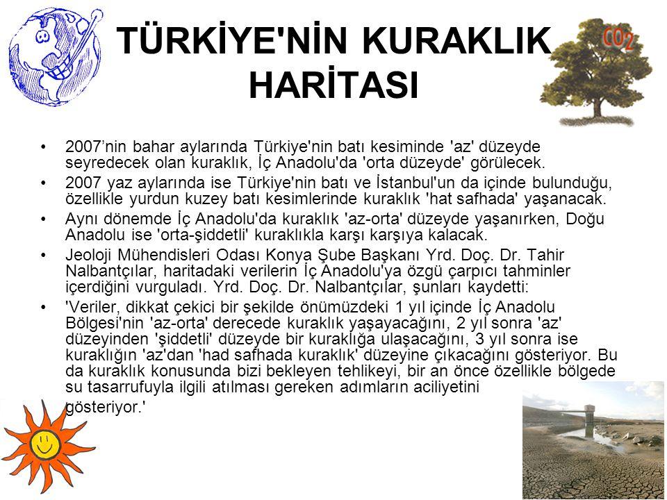 TÜRKİYE'NİN KURAKLIK HARİTASI 2007'nin bahar aylarında Türkiye'nin batı kesiminde 'az' düzeyde seyredecek olan kuraklık, İç Anadolu'da 'orta düzeyde'