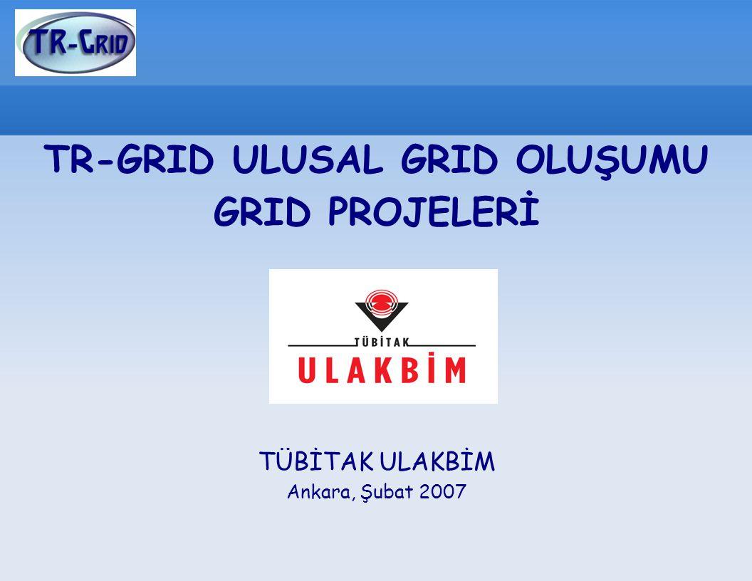 TR-GRID ULUSAL GRID OLUŞUMU GRID PROJELERİ TÜBİTAK ULAKBİM Ankara, Şubat 2007