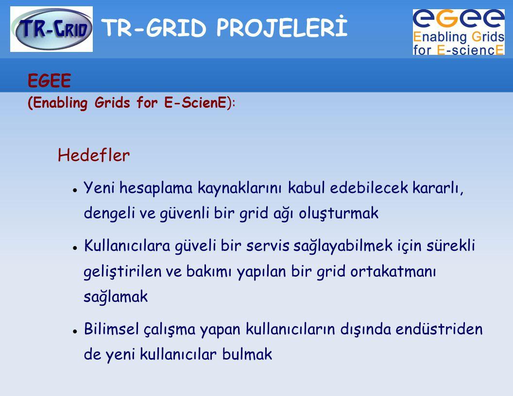 TR-GRID PROJELERİ EGEE (Enabling Grids for E-ScienE): Hedefler Yeni hesaplama kaynaklarını kabul edebilecek kararlı, dengeli ve güvenli bir grid ağı o