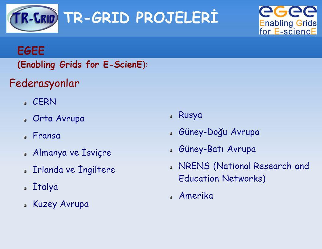 TR-GRID PROJELERİ EGEE (Enabling Grids for E-ScienE): Federasyonlar CERN Orta Avrupa Fransa Almanya ve İsviçre İrlanda ve İngiltere İtalya Kuzey Avrup