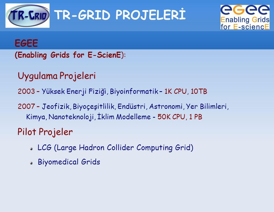 TR-GRID PROJELERİ EGEE (Enabling Grids for E-ScienE): Uygulama Projeleri 2003 – Yüksek Enerji Fiziği, Biyoinformatik – 1K CPU, 10TB 2007 – Jeofizik, B