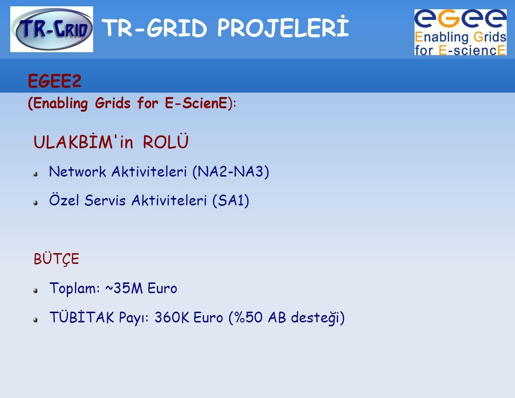 TR-GRID PROJELERİ EGEE2 (Enabling Grids for E-ScienE): ULAKBİM'in ROLÜ Network Aktiviteleri (NA2-NA3) Özel Servis Aktiviteleri (SA1) BÜTÇE Toplam: ~35