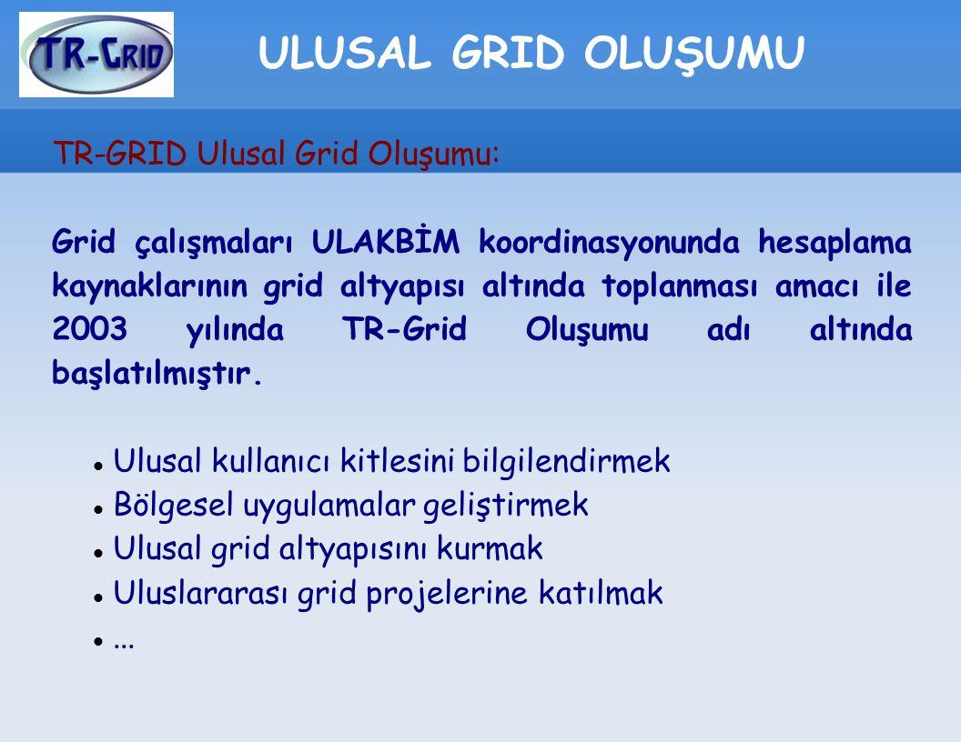 ULUSAL GRID OLUŞUMU TR-GRID Ulusal Grid Oluşumu: Grid çalışmaları ULAKBİM koordinasyonunda hesaplama kaynaklarının grid altyapısı altında toplanması a