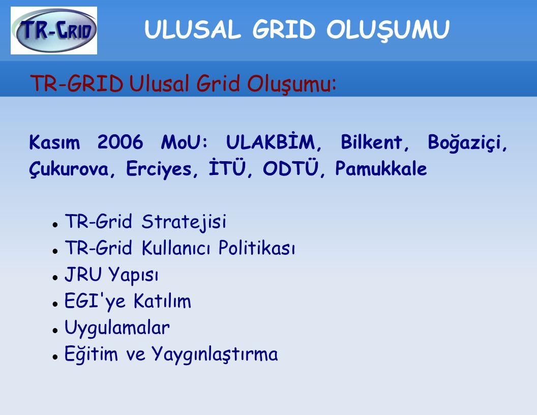 ULUSAL GRID OLUŞUMU TR-GRID Ulusal Grid Oluşumu: Kasım 2006 MoU: ULAKBİM, Bilkent, Boğaziçi, Çukurova, Erciyes, İTÜ, ODTÜ, Pamukkale TR-Grid Stratejis