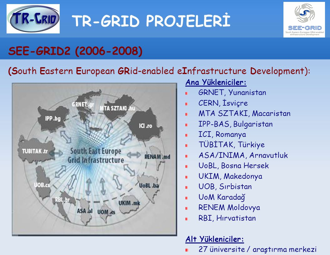 TR-GRID PROJELERİ SEE-GRID2 (2006-2008) (South Eastern European GRid-enabled eInfrastructure Development): Ana Yükleniciler: GRNET, Yunanistan CERN, İ
