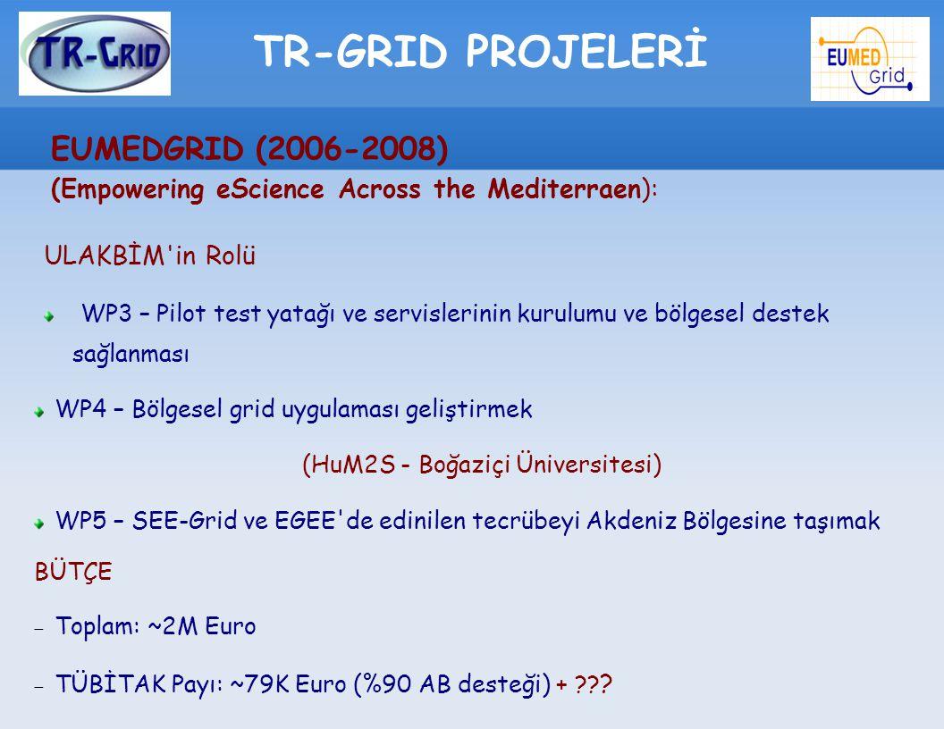 TR-GRID PROJELERİ EUMEDGRID (2006-2008) (Empowering eScience Across the Mediterraen): ULAKBİM'in Rolü WP3 – Pilot test yatağı ve servislerinin kurulum