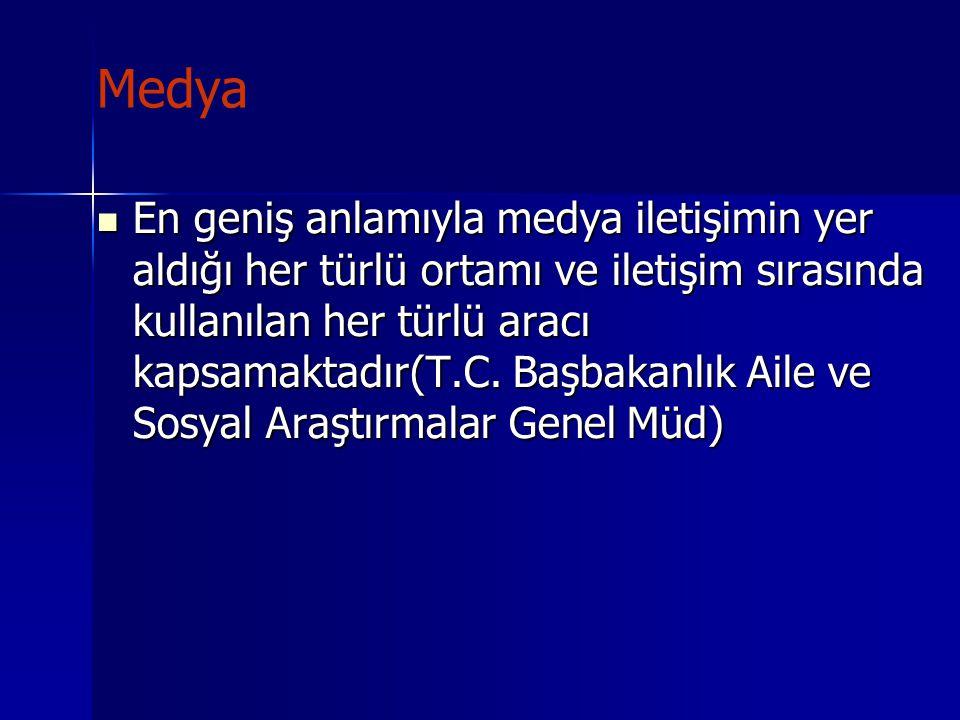 Medya Günümüz Türkiye'sinde ulusal-bölgesel-yerel medyasında etkinlikleri yönünden televizyonlar(230 kanal) önde gelmekte, daha sonra gazete ve dergiler(3500 yayın) ile radyolar(1176 kanal) sayılmaktadır(Özdiker 2003, Akt: Esenay).