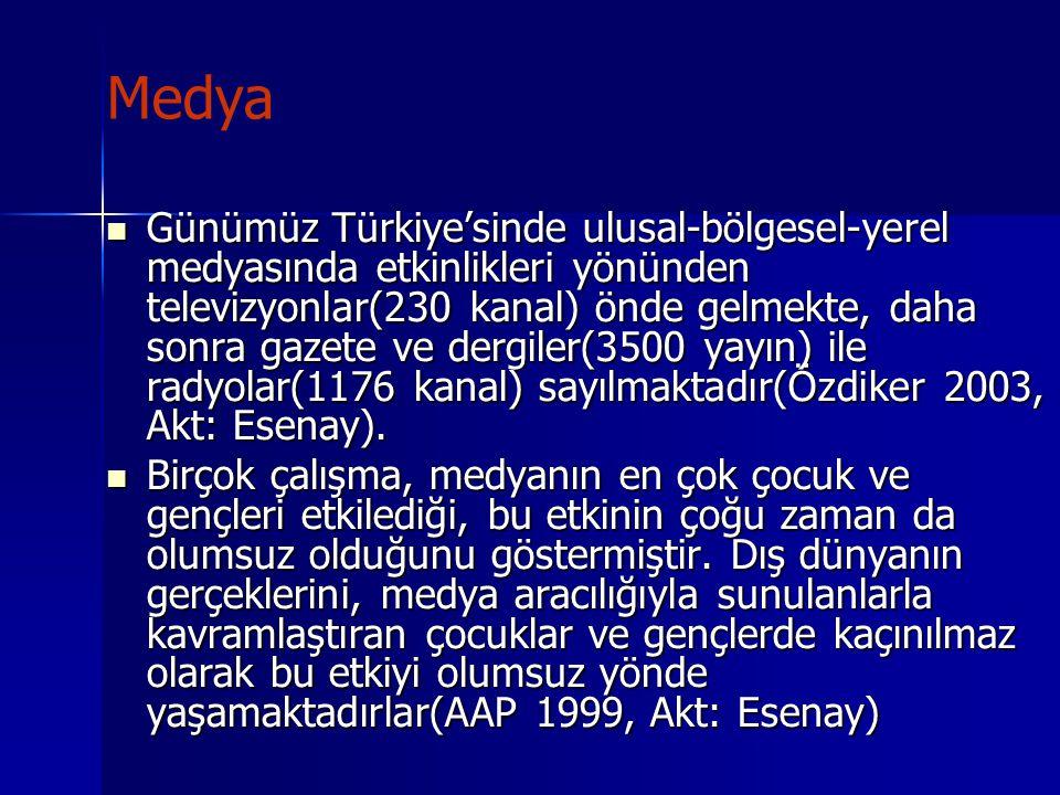 Medya Günümüz Türkiye'sinde ulusal-bölgesel-yerel medyasında etkinlikleri yönünden televizyonlar(230 kanal) önde gelmekte, daha sonra gazete ve dergil