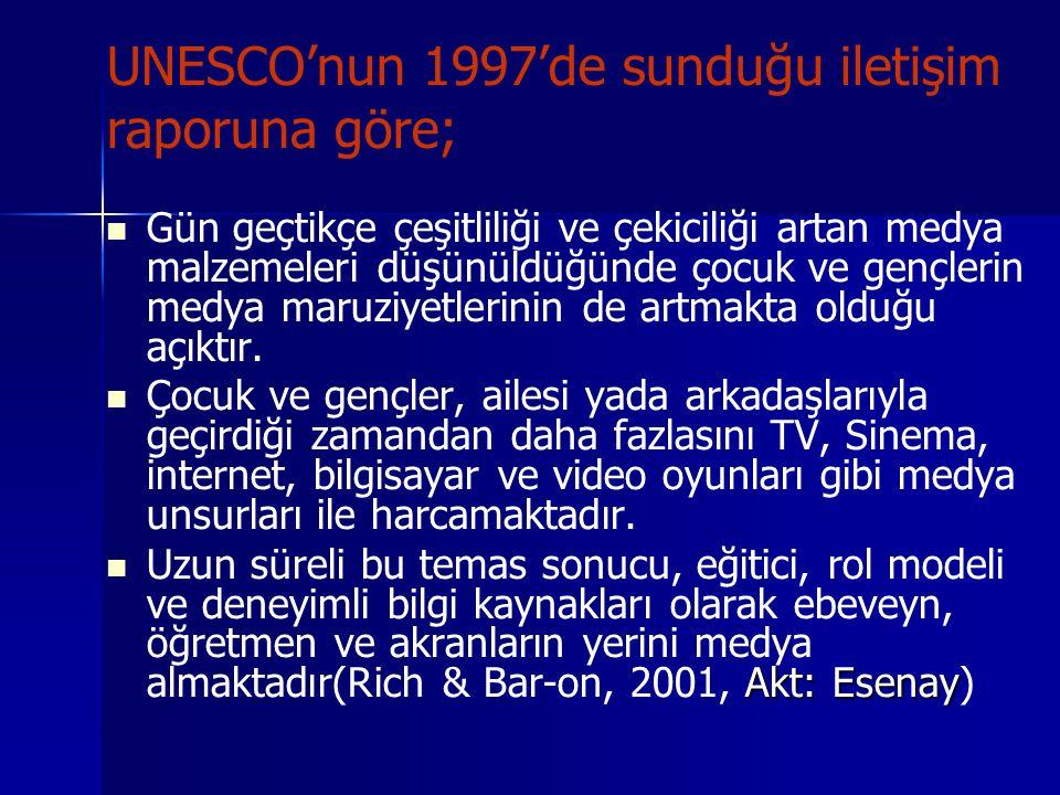 UNESCO'nun 1997'de sunduğu iletişim raporuna göre; Gün geçtikçe çeşitliliği ve çekiciliği artan medya malzemeleri düşünüldüğünde çocuk ve gençlerin me