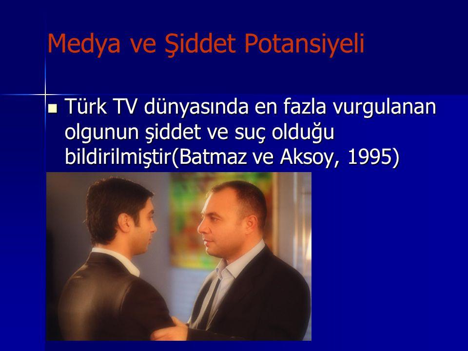 Medya ve Şiddet Potansiyeli Türk TV dünyasında en fazla vurgulanan olgunun şiddet ve suç olduğu bildirilmiştir(Batmaz ve Aksoy, 1995) Türk TV dünyasın