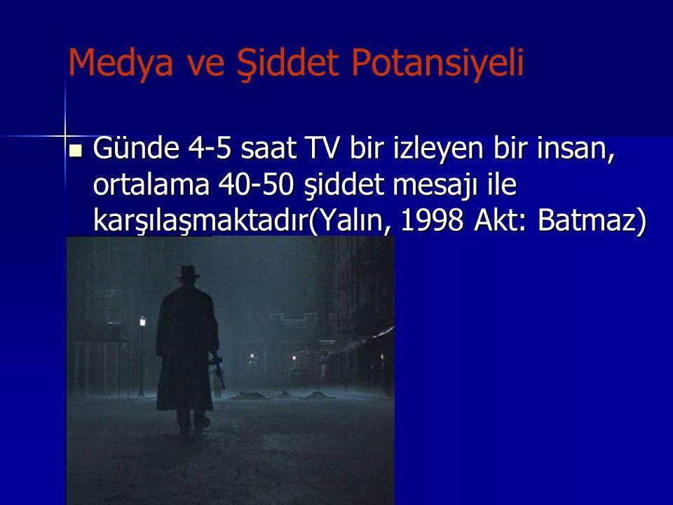 Medya ve Şiddet Potansiyeli Günde 4-5 saat TV bir izleyen bir insan, ortalama 40-50 şiddet mesajı ile karşılaşmaktadır(Yalın, 1998 Akt: Batmaz) Günde