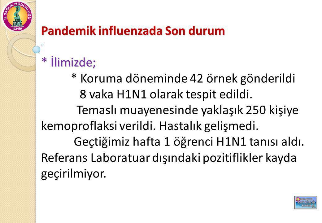 Pandemik influenzada Son durum * İlimizde; * Koruma döneminde 42 örnek gönderildi 8 vaka H1N1 olarak tespit edildi. Temaslı muayenesinde yaklaşık 250
