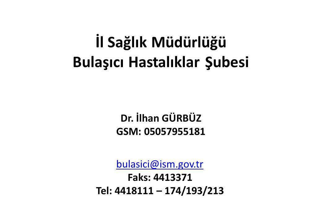 İl Sağlık Müdürlüğü Bulaşıcı Hastalıklar Şubesi Dr. İlhan GÜRBÜZ GSM: 05057955181 bulasici@ism.gov.tr Faks: 4413371 Tel: 4418111 – 174/193/213