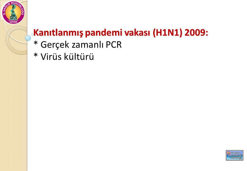 Kanıtlanmış pandemi vakası (H1N1) 2009: * Gerçek zamanlı PCR * Virüs kültürü
