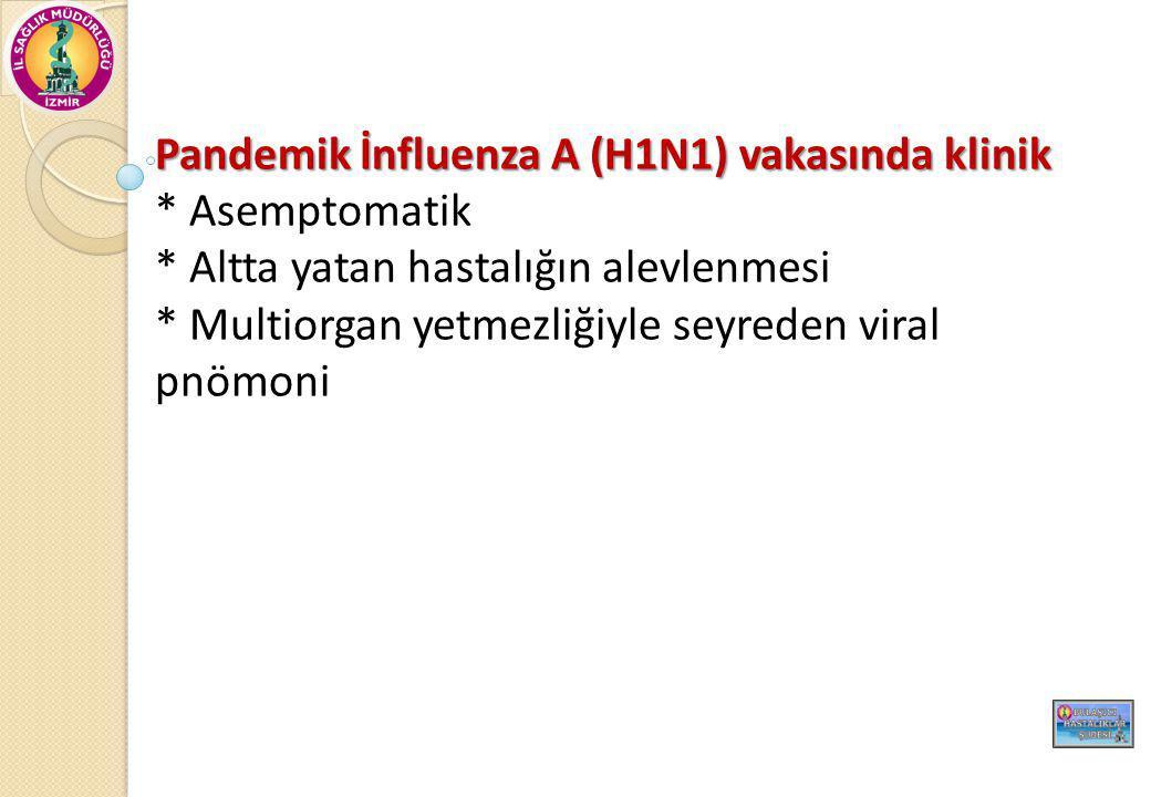 Pandemik İnfluenza A (H1N1) vakasında klinik * Asemptomatik * Altta yatan hastalığın alevlenmesi * Multiorgan yetmezliğiyle seyreden viral pnömoni