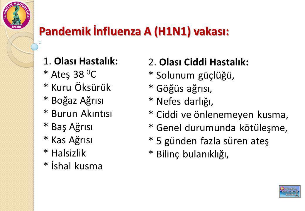 Pandemik İnfluenza A (H1N1) vakası: Gebe kadın 65 yaş ve üstü 2 yaşın altındaki çocuklar Herhangi bir yaşta aşa ğ ıdaki altta yatan hastalı ğ ı olanlar *Kronik Akçi ğ er hastalı ğ ı *Kronik kardiyovasküler hastalık (hipertansiyon hariç) *Kronik nörolojik hastalıklar İ mmunsuprese hastalar Hemotolojik hastalar Kronik karaci ğ er ve böbrek hastaları Metabolik bozukluklar Morbid obezite 18 yaş altı sürekli Aspirin kullanımı Hafif influenza bulguları ancak komplikasyon riski yüksek olanlar: