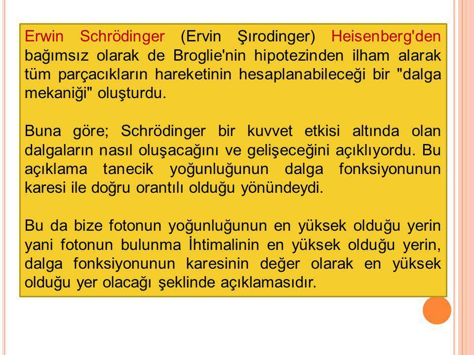 Erwin Schrödinger (Ervin Şırodinger) Heisenberg'den bağımsız olarak de Broglie'nin hipotezinden ilham alarak tüm parçacıkların hareketinin hesaplanabi
