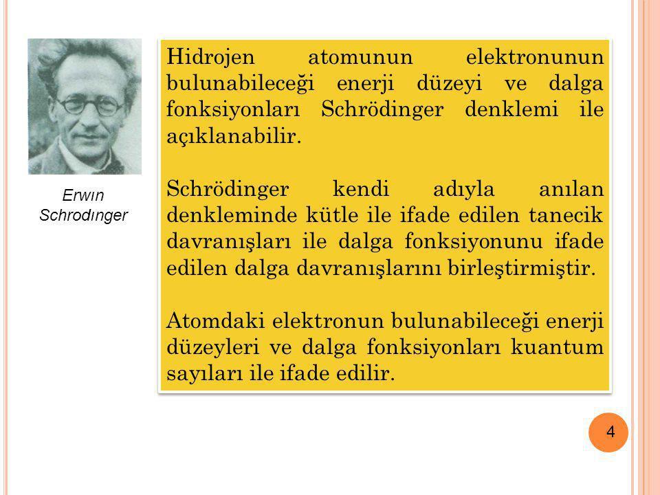 4 Hidrojen atomunun elektronunun bulunabileceği enerji düzeyi ve dalga fonksiyonları Schrödinger denklemi ile açıklanabilir. Schrödinger kendi adıyla