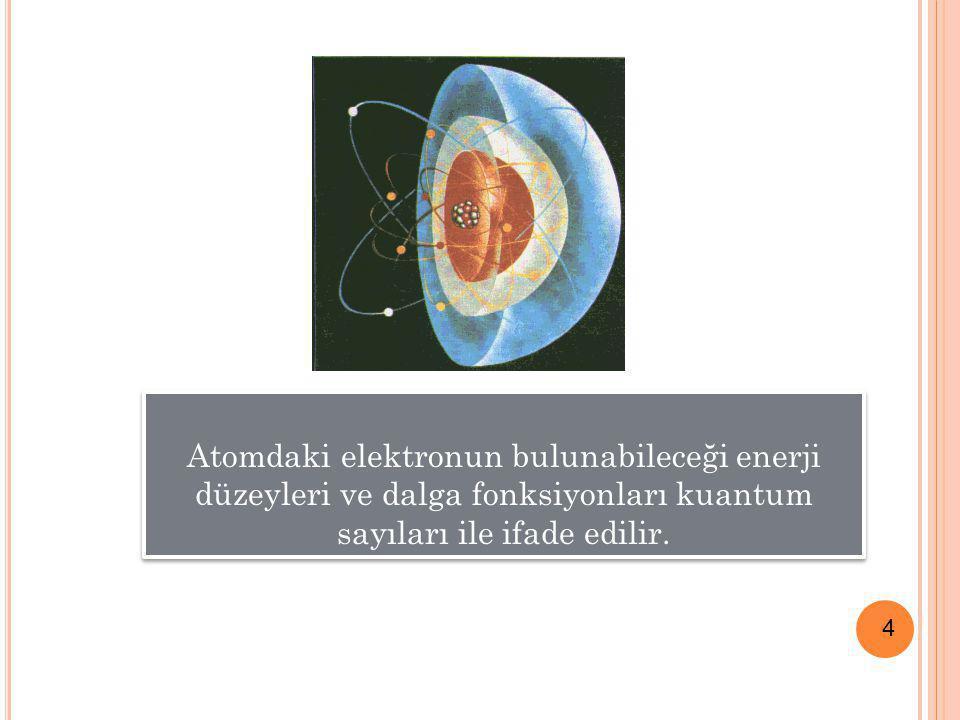 4 Atomdaki elektronun bulunabileceği enerji düzeyleri ve dalga fonksiyonları kuantum sayıları ile ifade edilir.