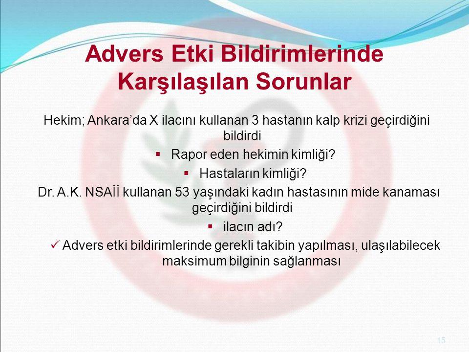 15 Advers Etki Bildirimlerinde Karşılaşılan Sorunlar Hekim; Ankara'da X ilacını kullanan 3 hastanın kalp krizi geçirdiğini bildirdi  Rapor eden hekimin kimliği.
