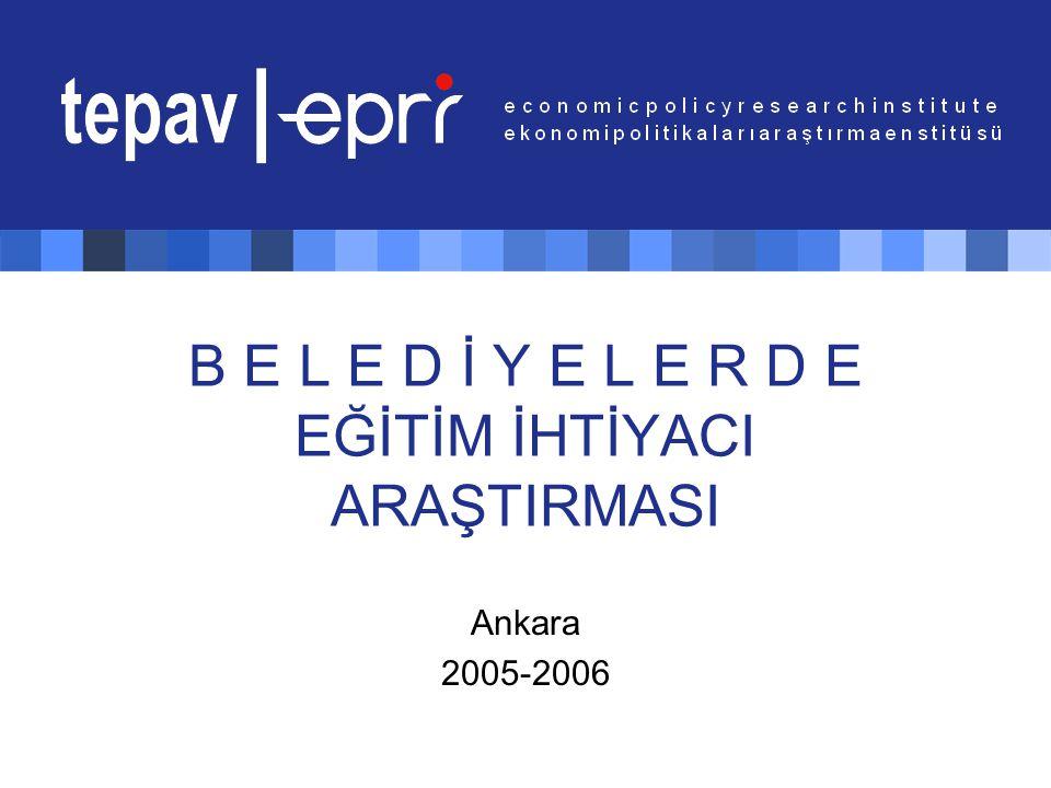 B E L E D İ Y E L E R D E EĞİTİM İHTİYACI ARAŞTIRMASI Ankara 2005-2006
