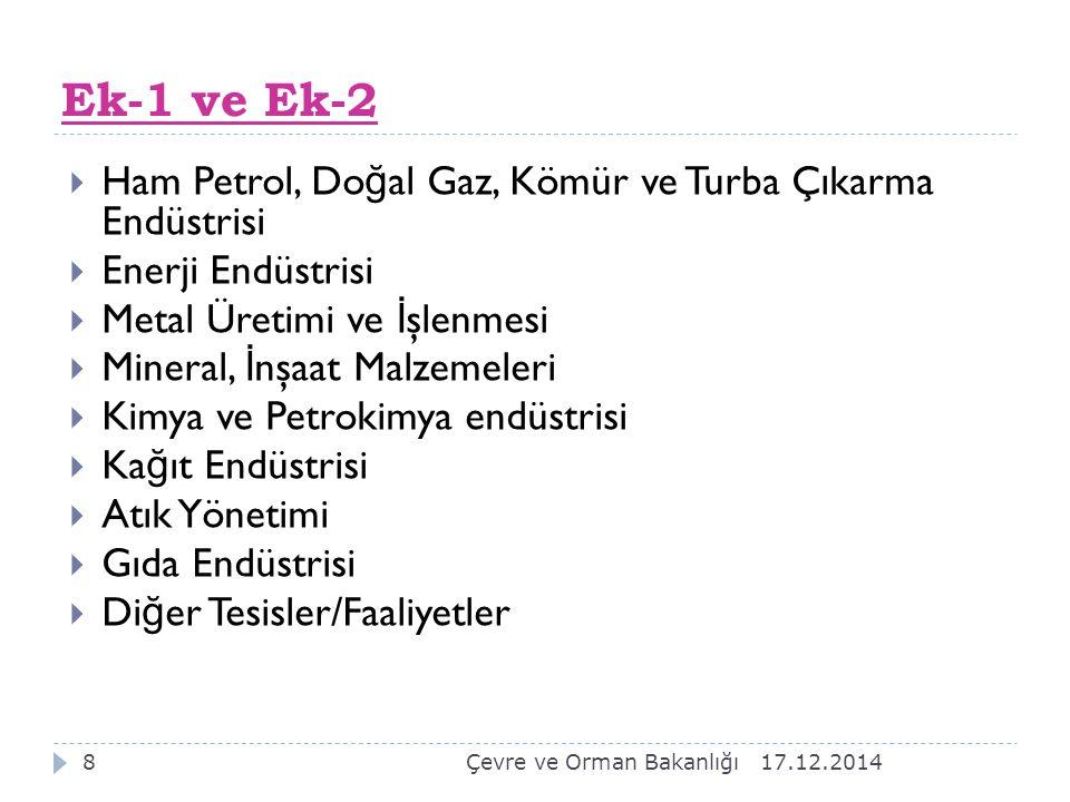 17.12.20147 Ek-1 ve Ek-2 listesinde yer alan tesis veya faaliyetler birleşik çevre denetimi kapsamındadır.