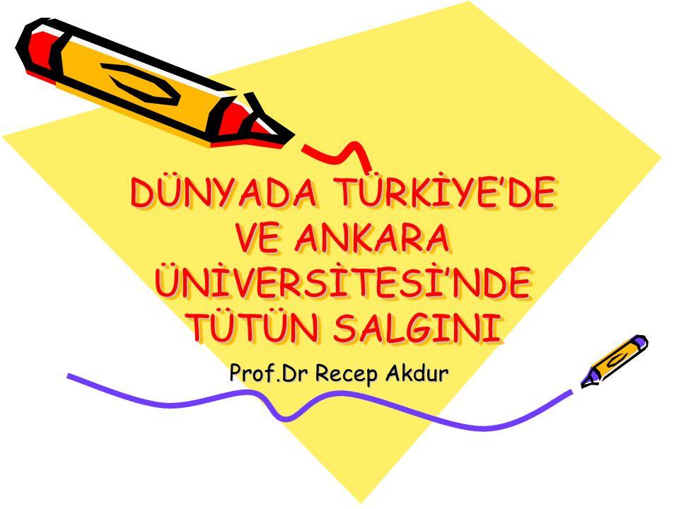 DÜNYADA TÜRKİYE'DE VE ANKARA ÜNİVERSİTESİ'NDE TÜTÜN SALGINI Prof.Dr Recep Akdur