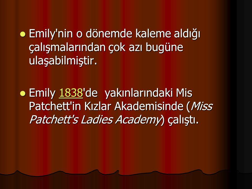 Emily nin o dönemde kaleme aldığı çalışmalarından çok azı bugüne ulaşabilmiştir.