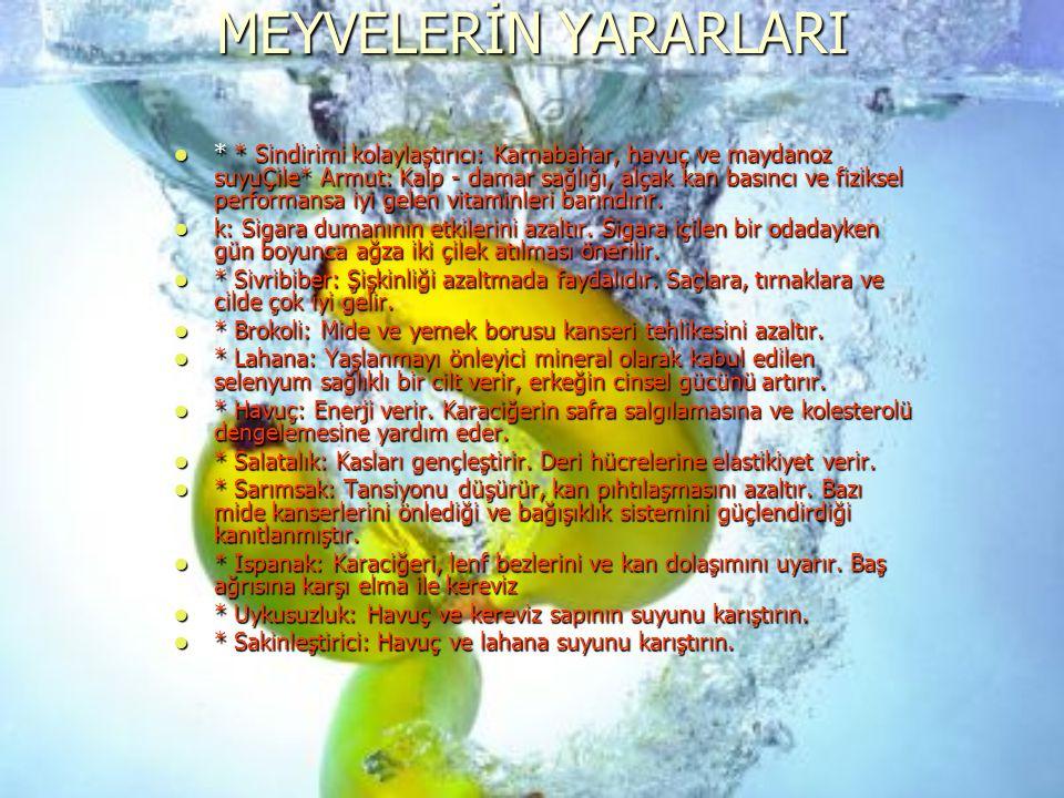 MEYVELERİN YARARLARI * * Sindirimi kolaylaştırıcı: Karnabahar, havuç ve maydanoz suyuÇile* Armut: Kalp - damar sağlığı, alçak kan basıncı ve fiziksel