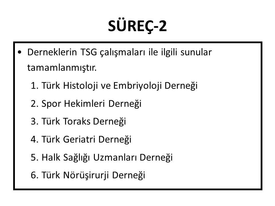 SÜREÇ-2 Derneklerin TSG çalışmaları ile ilgili sunular tamamlanmıştır.