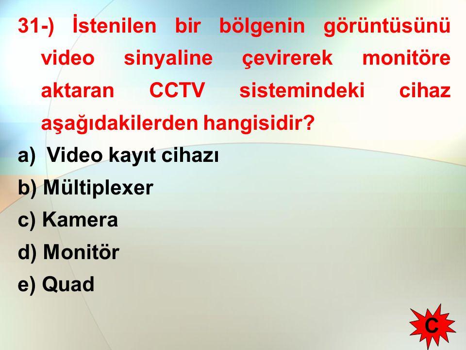 31-) İstenilen bir bölgenin görüntüsünü video sinyaline çevirerek monitöre aktaran CCTV sistemindeki cihaz aşağıdakilerden hangisidir? a) Video kayıt